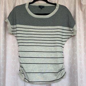 Short-sleeve striped sweater